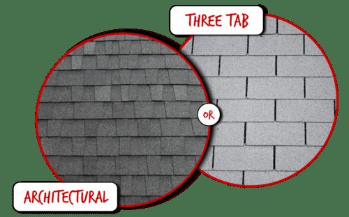 Architectural versus three-tab roof graphic