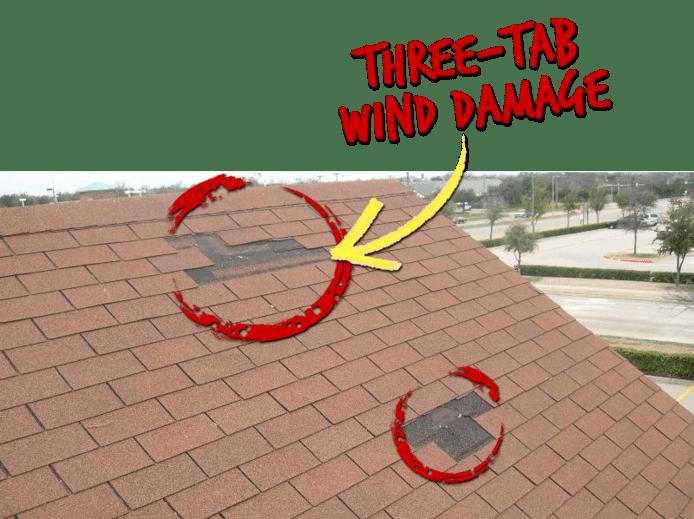 Three-tab wind damage on roof of house