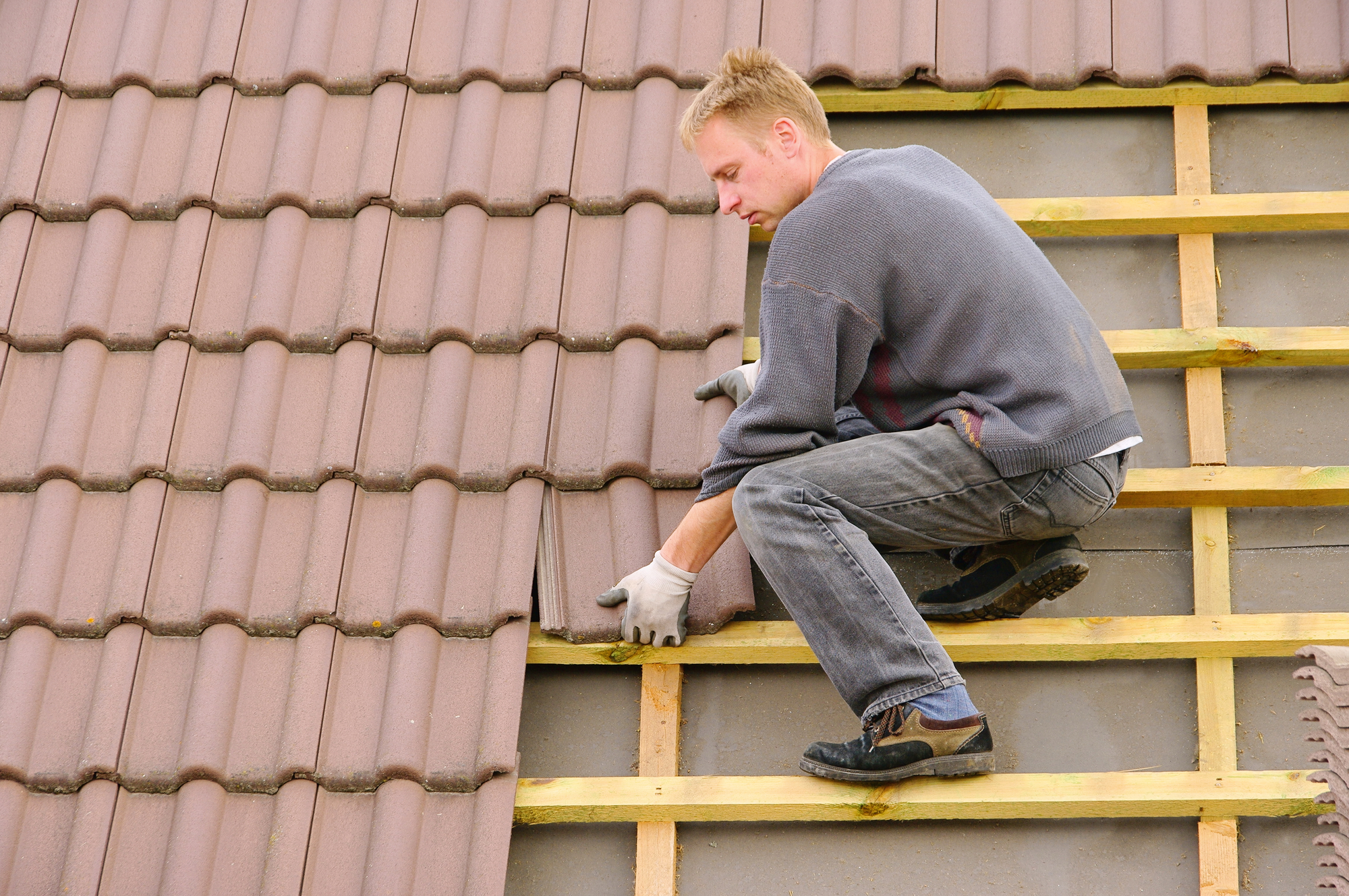 Tile roofing on house