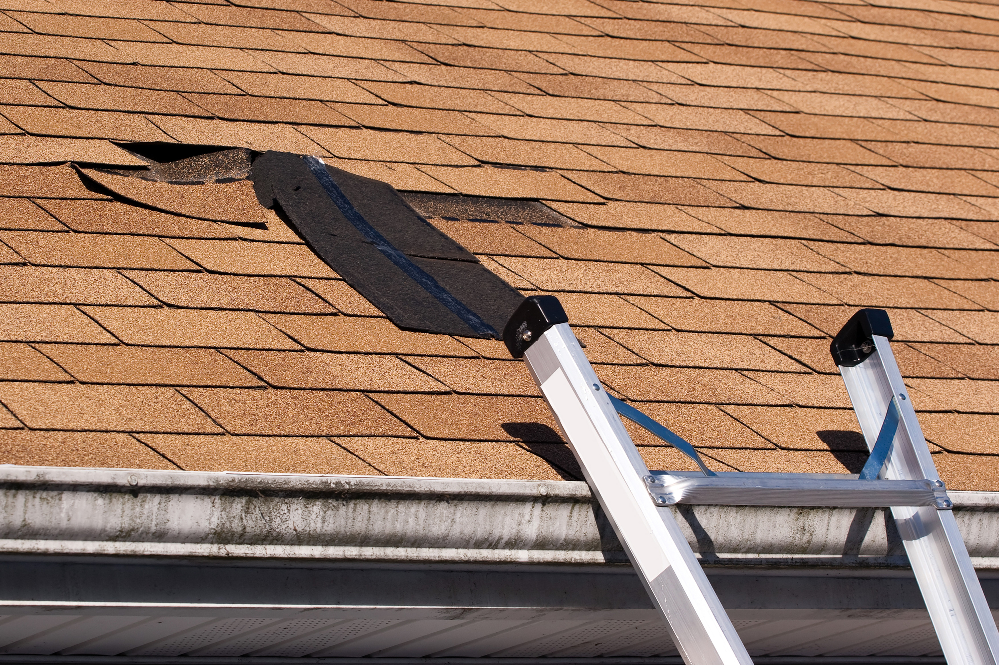 Shingles torn after storm