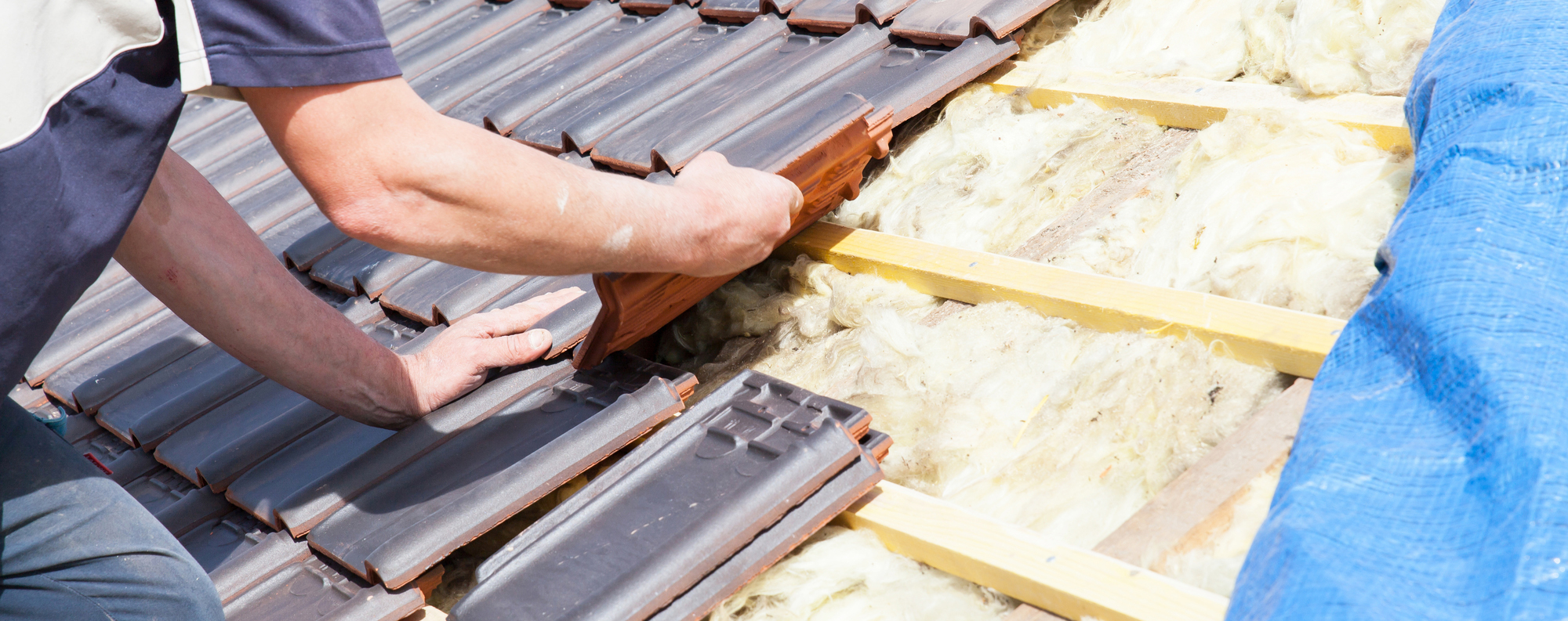 Man examining roof for wind mitigation report