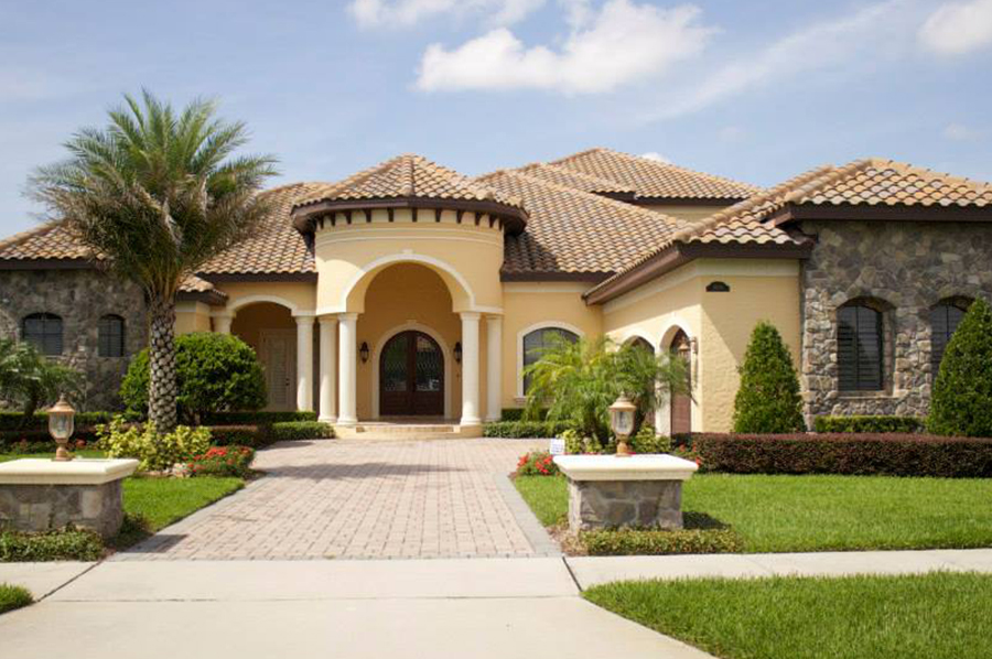 Tile roof on spanish style home