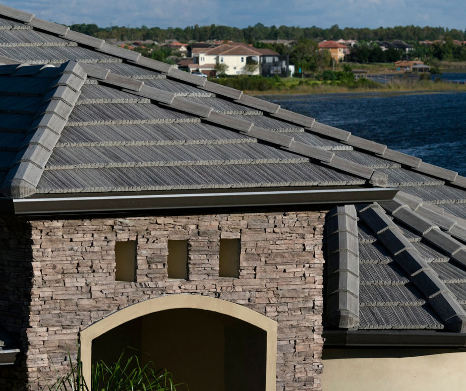 Concrete tile roofing on home